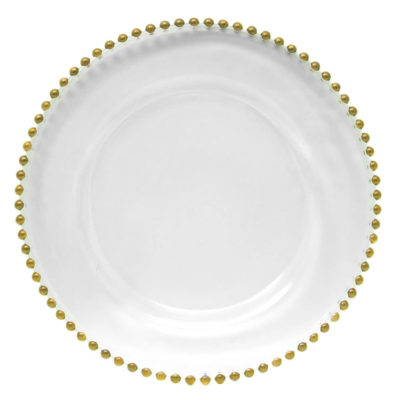 Glass Gold Beaded Charger Plate $4