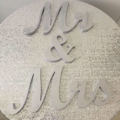 Mr Mrs Table Sign in Silver 15