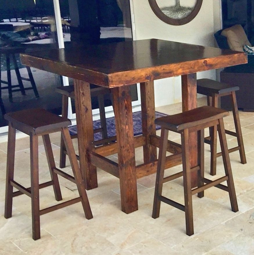 High Farm Cocktail Table 4′x4′ with 4 Saddle Stools $45.00