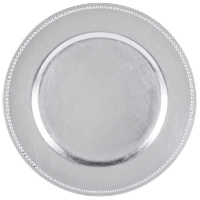 Silver Beaded Charger Plate $1.50