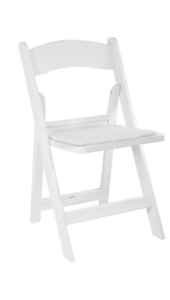 White Padded Folding Chairs - $2.50