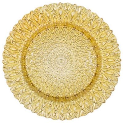 Gold Glass Peacock Charger Plate $4