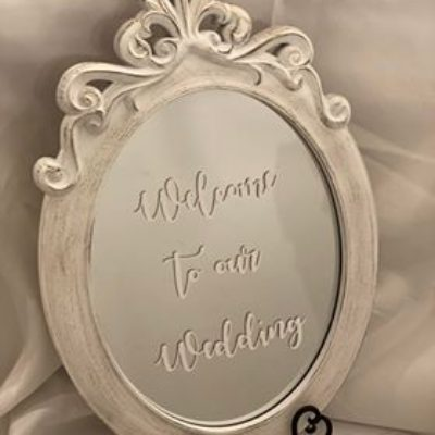 "24"" x 16"" Welcome to our Wedding Mirror $25"