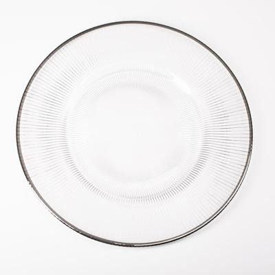 Silver Rim Glass Charger Plate $5