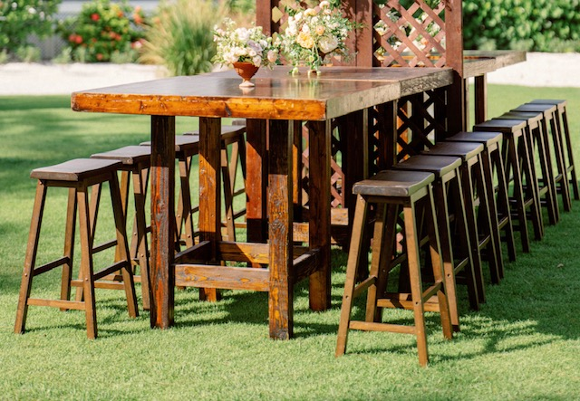 High Farm Cocktail Table 4′x4′ with 4 Saddle Stools $75.00